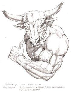 No Bull on Behance Mythological Creatures, Mythical Creatures, Comic Kunst, Comic Art, Animal Sketches, Animal Drawings, Pencil Art Drawings, Drawing Sketches, Taurus Bull Tattoos