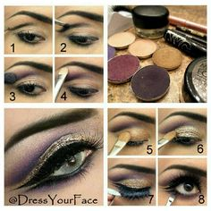 Step by step pictorial of previous post!! First create cut crease with dark brown eyeliner (lancome le crayon in black coffee) and set with a deep purple shadow (Mac graphology) and blend. Add bright plum/purples in the crease (mix of mac nocturnelle and parfait amour). Apply highlighy (Mac naked lunch) on brow bone. Then fill the lid space with gold (Mac wood-winked) and then apply a wet eyeliner sealant/clear shadow base all over the gold lid and stick the loose glitter on top (makeup…