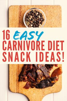 Chances are you may be getting a little bored with the carnivore diet.  All good we got you covered!.  We made an awesome list of 16 carnivore diet snacks.  Some may be new to you and that's why we made this list.  Most are super nutritious and chances are will take away your cravings.  Check it out.  #carnivorediet #keto #ketocarnivore #lowcarb #zerocarb #ketosis #paleo #crossfit #highfat #snacks #jerky Meat Diet, Diet Food List, Diet Menu, Zero Carb Diet, No Carb Diets, No Carb Recipes, Diet Recipes, Diet Tips, Easy Snacks