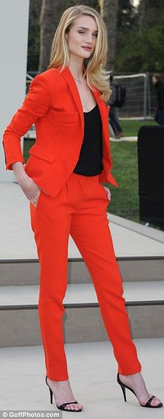 Tailored red Burberry pant suit