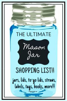 Everything you need for using Mason jars for canning, drinking, or crafts and DIY! Mason Jar With Straw, Mason Jar Lids, Mason Jar Crafts, Spice Labels, Jar Labels, Spice Jars, Yule Crafts, Jar Packaging, Vintage Mason Jars