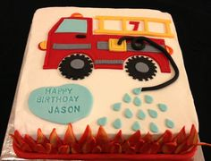 Fire Truck Sheet Cake Truck Birthday Cakes, 5th Birthday Cake, Birthday Sheet Cakes, Firefighter Birthday, Fireman Cake, Fireman Party, Fire Engine Cake, Firefighter Baby Showers, Fire Fighter Cake