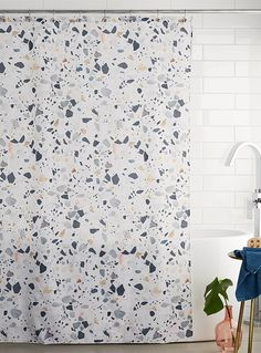 Terrazzo print shower curtain   Simons Maison   Shop Fabric Shower Curtains Online in Canada   Simons
