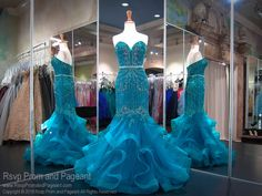 Teal Sweetheart Strapless Mermaid Ruffle Prom Dress / Rsvp Prom and Pageant Turquoise Homecoming Dresses, Fancy Prom Dresses, Beauty Pageant Dresses, Pretty Quinceanera Dresses, Prom Dresses Two Piece, Mermaid Prom Dresses, Bridesmaid Dresses, Quinceanera Party, Formal Dresses