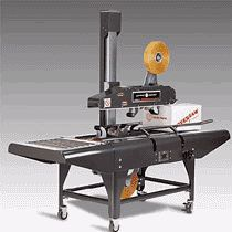Uniform Legend Semi Automatic Case Sealer manufactured by Loveshaw Little David. System offers flexibility, reliability, ease of operation and a state of the art case taper solution. Close, tape and seal boxes of uniform size easily.