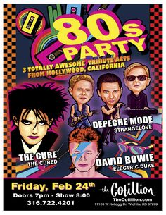 BOB-FM PRESENTS THE TOTALLY AWESOME NEW WAVE FESTIVAL STRANGELOVE - TRIBUTE TO DEPECHE MODE THE CURED - TRIBUTE TO THE CURE ELECTRIC DUKE - TRIBUTE TO DAVID BOWIE FRI, FEBRUARY 24, 2017  DOORS: 7:00 PMSHOW: 8:00 PM $15 ADVANCE - $20 DAY OF SHOW TICKETS THIS EVENT IS ALL AGES All seating is general admission. Table reservations are available at The Cotillion or by calling 316-722-4201. Nancy's A-Maize-N Sandwiches will be here serving her Famous #8 and more! Text ROCK to 49798 updates and…