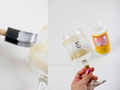 Glitter wine glasses - DIY with Mod Podge