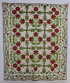 "1860 hand stitched applique quilt ""Peonies"" pattern, Ohio origin, beautiful red and green colors, cotton seed batting, good condition with some minor wear in areas. 92 x 80, A-1 Auction, Live Auctioneers"