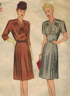 1940s Simplicity 1570 Vintage Sewing Pattern Women's Dress Size Bust 34 on Etsy, $16.00