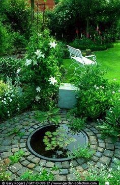Garden pond. Beautiful backyards