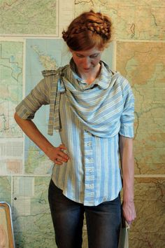 pioneer blouse women's button up shirt pinstripes and by sewmoe
