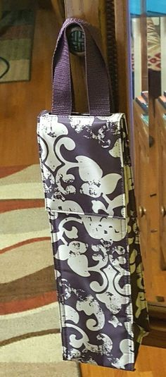 "THIRTY-ONE Purple Vintage Damask THERMAL PERFECT BOTTLE 13.75 X 4 X 4"" #ThirtyOne"