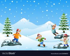 Happy kids playing snowball vector image on VectorStock Book Letters, Snowball, Happy Kids, Cute Drawings, Kids Playing, Adobe Illustrator, Vector Free, Christmas Crafts, Images