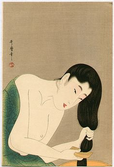 "'Combing the Hair' (1802-03) from the series ""Ten Types in the Physiognomic Study of Women"" by Japanese Ukiyo-e painter & printmaker Kitagawa Utamaro (c.1753-1806). Color woodcut. via ukiyo-e"