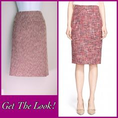 """SALE $12-ASK FOR PRICE DROP Tweed Pencil Skirt Tweet pencil skirt with flattering wide waistband. Shades of pink and burgundy is beautiful. Fully lined with back zipper and vent. Length is 23"""" and waist is 14.5"""" side to side. The model pic is to show fit. Great Condition! Merona Skirts Pencil"""