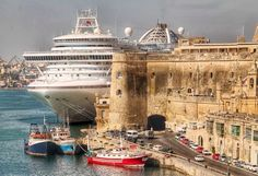 Cruise liner at berth in Valletta, Malta
