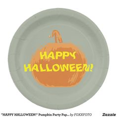 """HAPPY HALLOWEEN!"" Pumpkin Party Paper Plates! Yum"