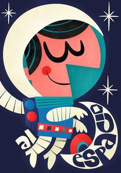 Espacio retro (Retro space) Character illustration & design. Textil and posters in Naranjas Chinas e-commerce. By Pintachan. // Espacio Retro (retro space) Diseño e ilustración de personajes para aplicación textil e impresa en Naranjas Chinas comercio electrónico. Por Pintachan.