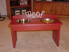Dog Bowl Stand.  Would be easy enough to do.