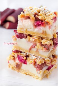 Kruche ciasto z budyniem i rabarbarem, najlepsze- Kruche ciasto z budyniem i rabarbarem, najlepsze pastry with custard and rhubarb - Food Porn, Cooking Time, Cooking Recipes, Good Food, Yummy Food, Dessert Cake Recipes, Rhubarb Recipes, Coffee Cake, Food To Make