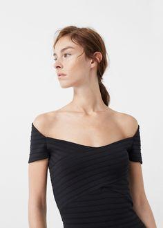 Vestido entallado canalé - Vestidos de Mujer | MANGO España