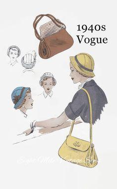 1940s Sewing Pattern - Vintage Vogue 6831 - Misses Cloche Hat and Shoulder Bag - Hat with Brim - Head Size 22 - Vintage Vogue Sewing Pattern by EightMileVintageSews on Etsy