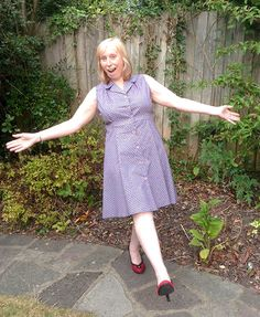 Sew Over It Vintage Shirt Dress: Karen looking very pleased with her dress (and rightly so!).