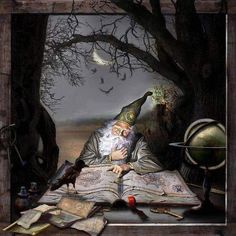 """""""The Wizard"""" page en digiscrap par Dream Fantasy, My Fantasy World, High Fantasy, Medieval Fantasy, Maurice Careme, Fantasy Wizard, Fantasy Images, Arte Popular, Science Art"""