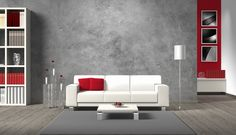 modern living room rendering with white sofa and copy space for your own image/photos on the concrete wall behind the sofa living room interior royalty free stock images stock illustration Modern Pictures, Canvas Home, Concrete Wall, Micro Concrete, Deco Design, Stock Foto, Wall Decal Sticker, Picture Wall, Black Picture