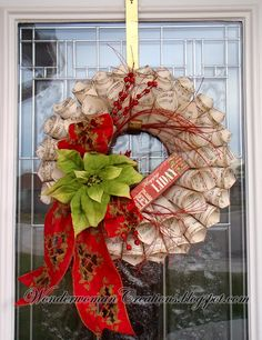 ~ Christmas Wreath Ideas ~ Love the Green Poinsettia & Red Ribbon....