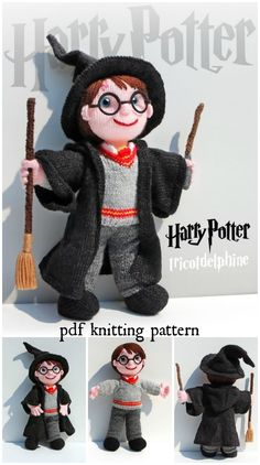 Look at the detail and the beautiful knitting design of this Harry Potter doll knitting pattern! This would make a lovely hand-knit toy for a Harry Potter fan!It's hard to believe that the first Harry Potter books hit the shelves over 20 years ago Knitting Dolls Free Patterns, Knitted Dolls Free, Knitting Designs, Crochet Dolls, Knitting Toys, Hand Knitting, Crochet Cats, Kids Knitting, Crochet Birds