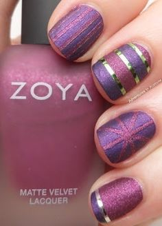 Purple Glitter Striped Nails