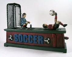 Mechanical Action Soccer GOAL Die-Cast Iron Coin Bank