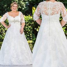 Wholesale Lace Wedding Dresses - Buy Plus Size Lace 2015 Wedding Dresses With Square Neckline 3/4 Long Sleeve Covered Button Wedding Dress A-Line Sweep Train Beach Bridal Gowns, $157.49 | DHgate