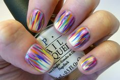 Colorful Feathery Striped Nails