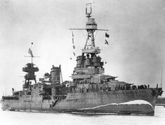 The U.S. heavy cruiser USS Northampton CA-26 at Brisbane, Australia, 5 August 1941. Note her false bow wave camouflage (no. 5 scheme) on no.1 scheme.