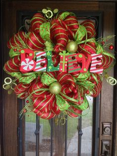 Deco Mesh Wreath for Christmas Believe by JoowaBean on Etsy