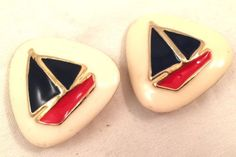 Sail Boat Nautical Figural Whimsical Red Blue White Beige Vintage Clip Earrings