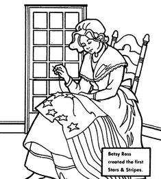Betsy Ross Created American Flag For Independence Day Coloring Pages - Download & Print Online Coloring Pages for Free | Color Nimbus