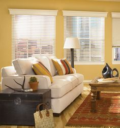 Bali Northern Heights 2 1/2 Shutter Style Wood Blinds shown in Snowstorm Large Window Treatments, Bathroom Window Treatments, Window Treatments Living Room, Window Coverings, Wooden Window Blinds, Wood Blinds, Blinds For Windows, Bali Blinds, Horizontal Blinds