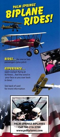 Climb into our 1940 Stearman Biplane with yor favorite friend and enjoy an uparralleled view of the Coachella Valley.