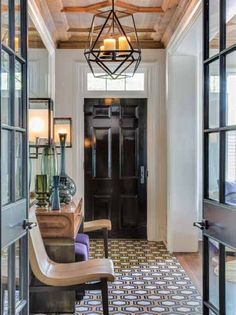 Love the doors, traditional but modern, the ceiling detail, the floor tile - Transitional White Entry Hallway with Black Door Interior Exterior, Home Interior, Interior Design, Design Interiors, Interior Architecture, Design Entrée, House Design, Lobby Design, Design Table