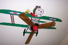 Snoopy Nursery; done with existing flush mount ceiling fan.