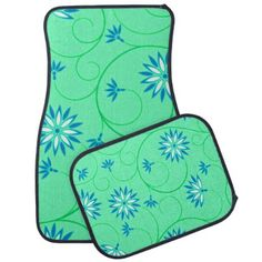 Elegant Abstract Flowers 3 Car Floor Mat - pattern sample design template diy cyo customize