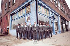 posing groomsmen, posing the bridal party, urban photography, wedding photography