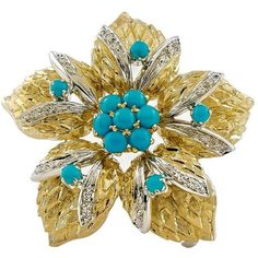 Preowned 1950s Turquoise Diamond Gold Flower Brooch ($1,790) ❤ liked on Polyvore featuring jewelry, brooches, multiple, turquoise gold jewelry, pre owned jewelry, turquoise jewelry, diamond jewelry and cabochon jewelry
