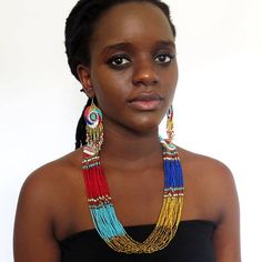 African Zulu beaded multistrand necklace  Gold/red/blue