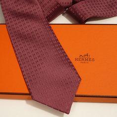 Authentic Vintage Hermes Faconnee Raised H Tie in Raisin Purple with Tie Box Hermes Men, Hermes Paris, Burberry Men, Gucci Men, Tie Box, Tom Ford Men, Hugo Boss Man, Calvin Klein Men, Audemars Piguet