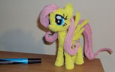 Pipe cleaner Fluttershy by Ponycrafter