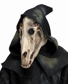This Horse Skull Skeletal Latex Animal Mask With Attached Hood Adult Costume Accessory includes one mask with an attached hood and see-through mesh eye holes. Material: (Mask) Latex. Latex Warning: This product contains Natural Rubber Laxex (NRL). | eBay!